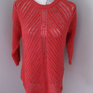 Chelsea & Theodore Red Crochet Sweater LARGE